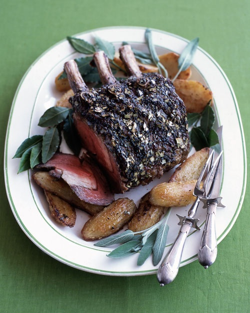 Prime Rib And Oven-Roasted Potatoes With Bay Leaves And