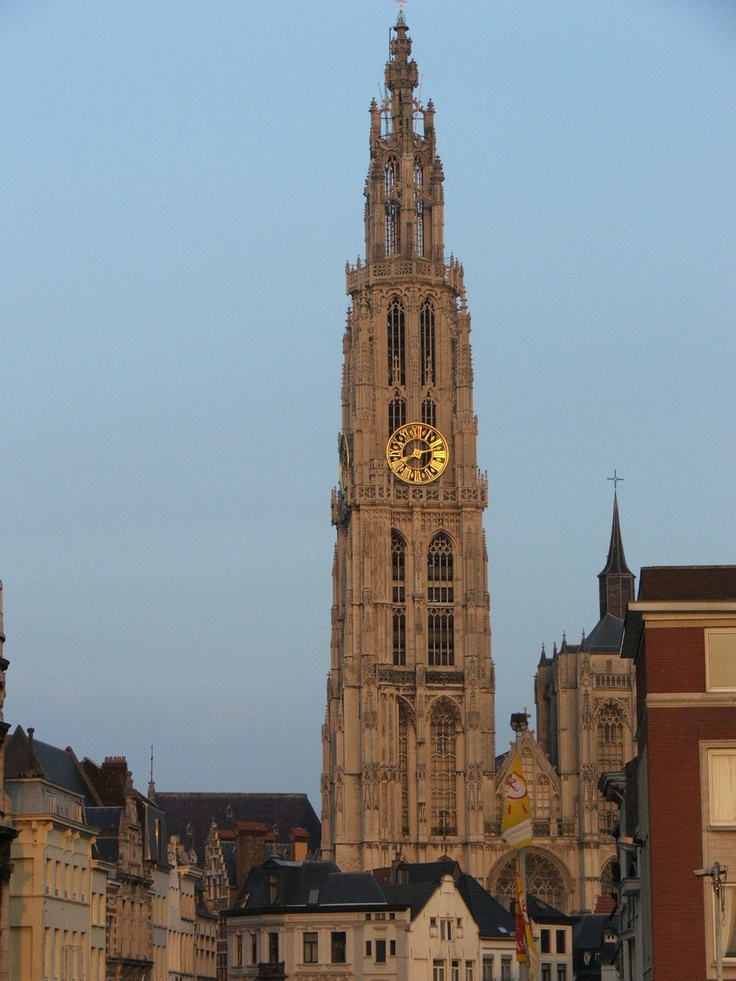Belfry of the Cathedral of our Lady, Antwerp, Flanders Region, Belgium. (View from the river.)