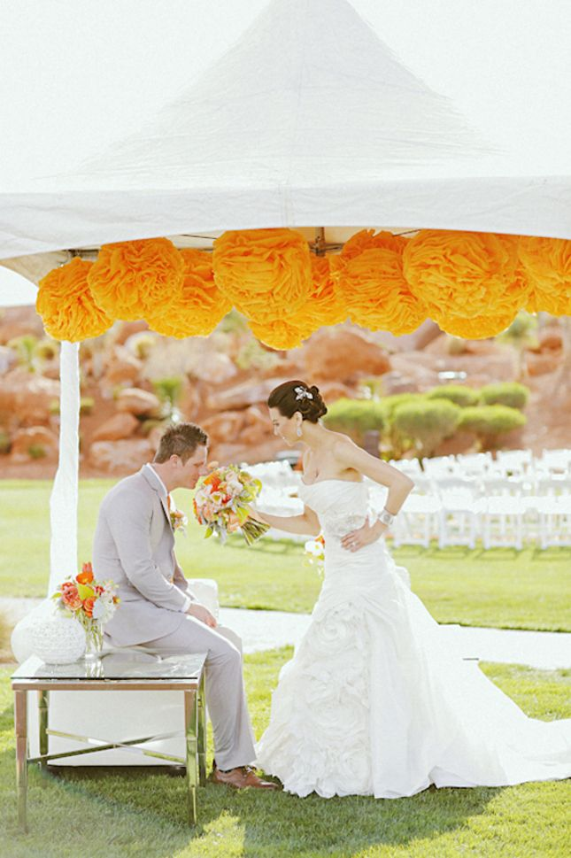 Love the Tangerine... Pompom over altar like big marigolds.  Wonder if I can grow marigolds in time to make all garlands?