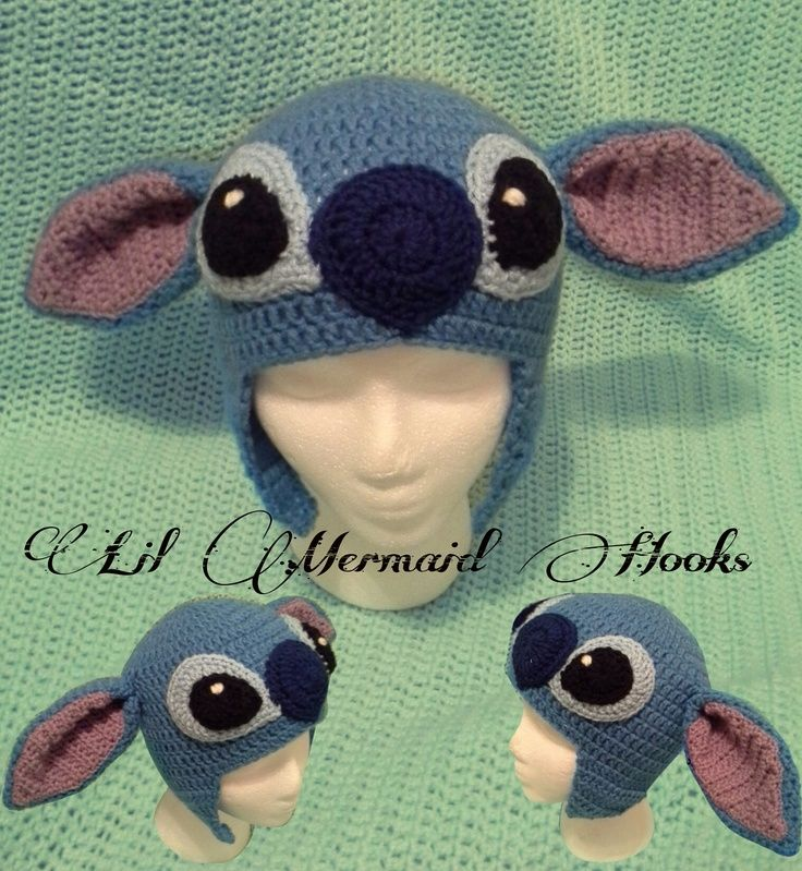 Inspired by Disney's Lilo and Stitch. Stitch Crochet Beanie Hat