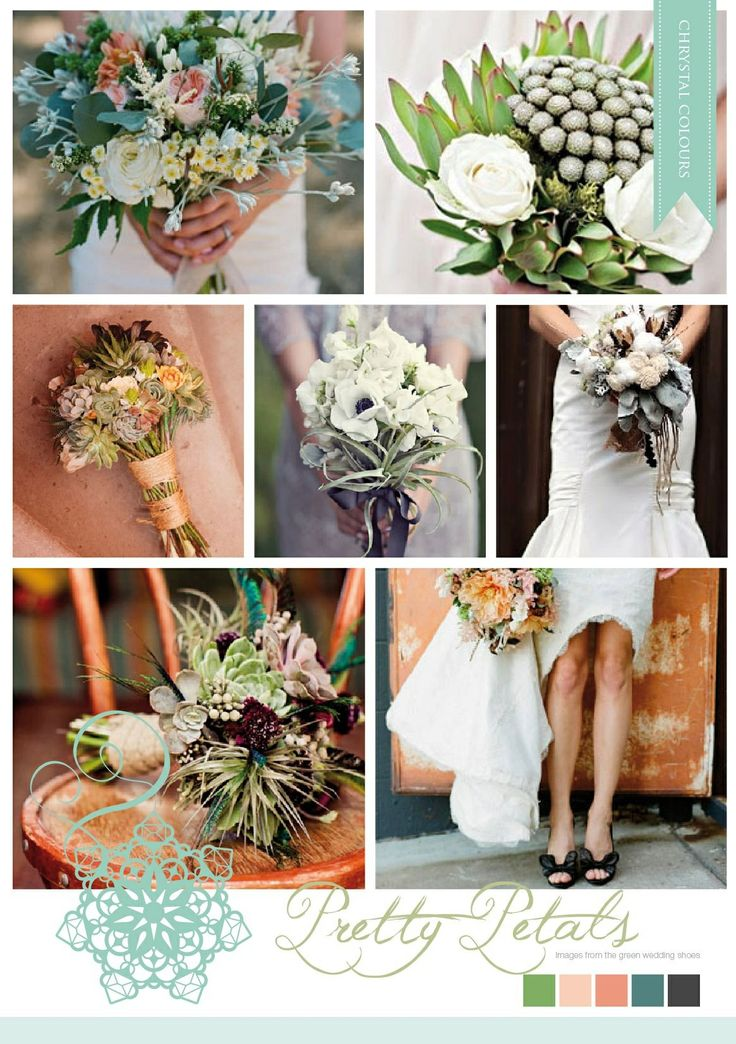 Pretty bouquets compiled by Chrystalace wedding stationery.