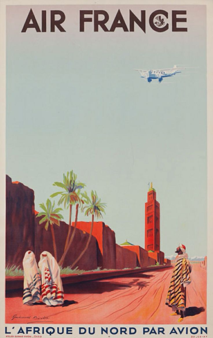 Air France Vintage 1950 S Advertising Poster Old School