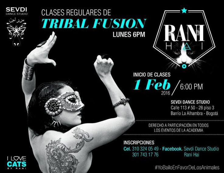 Clases de Tribal Fusion con Rani Hai... Lunes 6pm.... Promociones por mes de san valentin ... INFO: (57) 3103240549 - (57-1) 5334115 E-MAIL: studio.sevdidance@gmail.com Bogota - Colombia