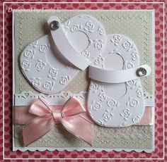 handmade baby shoe card ... adorable pair of die cut and flower embossed baby girl Mary Janes ... perfect pink bow ... sweet look!:
