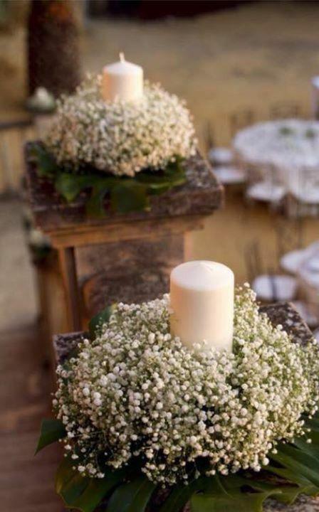 Centros de mesa con velas  ideas celeb en 2019  Wedding decorations First communion y Wedding