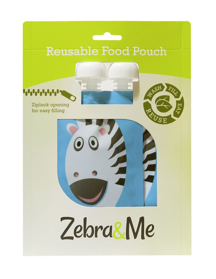 Zebra&Me Reusable Food Pouch - 2pack