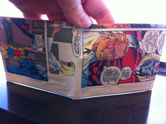 Super Hero Xmen comic book wallet  Handmade from by AllisonKapner, $15.00