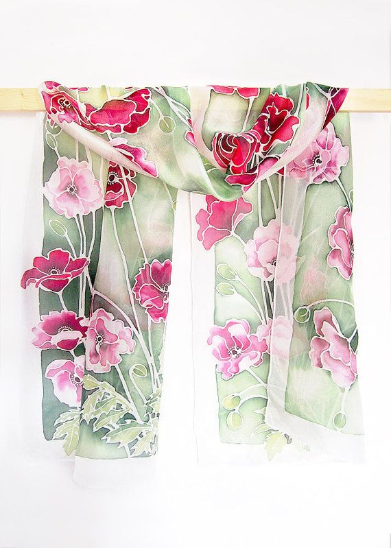Long silk scarf Poppies scarves  hand painted poppy by MinkuLUL, $66.00