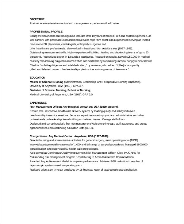 sample charge nurse resume