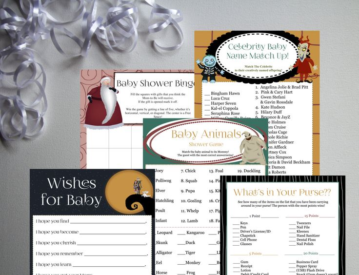 Nightmare Before Christmas-Baby Shower Games Set 01-DIY-Printable Games-Bingo-Celebrity Baby Name-Wishes-Baby Animals-What's In Your Purse by PaperWillowDesigns on Etsy