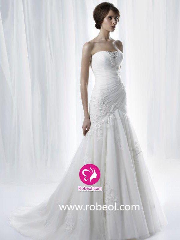 Sirène Col En V Traîne Moyenne Robe De Mariée En Tulle Avec Perle Dentelle Ruché