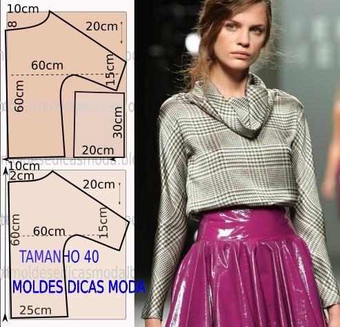 Faça a analise de forma detalhada do desenhe do molde de blusa de seda. Este modelo é simples mas veste de forma descontraída e elegante.