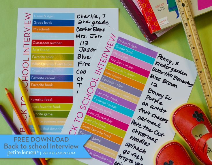 Free printable —Back to school interview. Going to do this the night before the first day :)