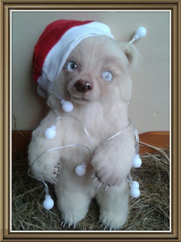 Needle felting teddy bear #christmas #ooak #teddybear #bear #needlefelting #polandhandmade #handmade #prezent #bozenarodzenie