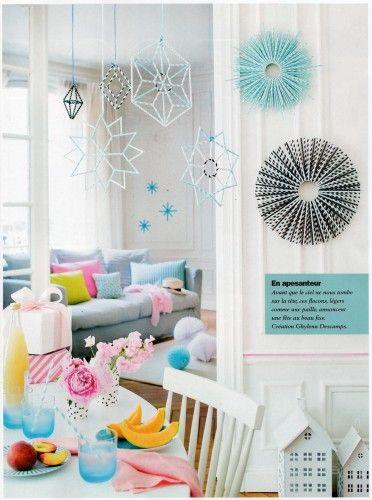Étoiles, soleils et suspensions -pailles en papier- Stars, suns & co to hang - paper straw - Creation for MCI n° 104 sept 2014- Ghylenn Descamps
