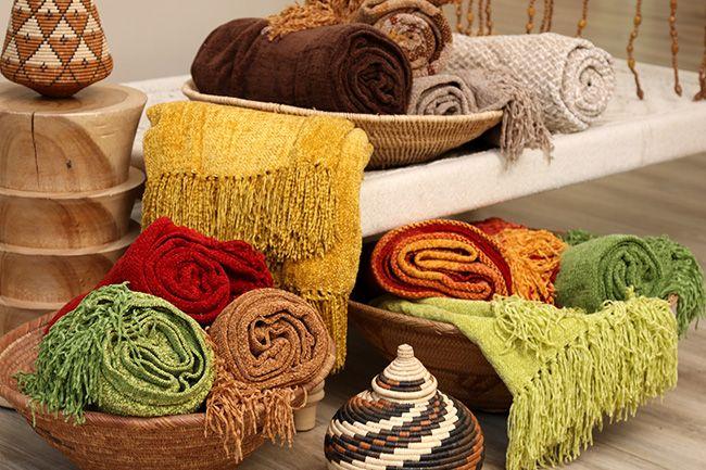 new range of sesli chenille throws in vibrant colours
