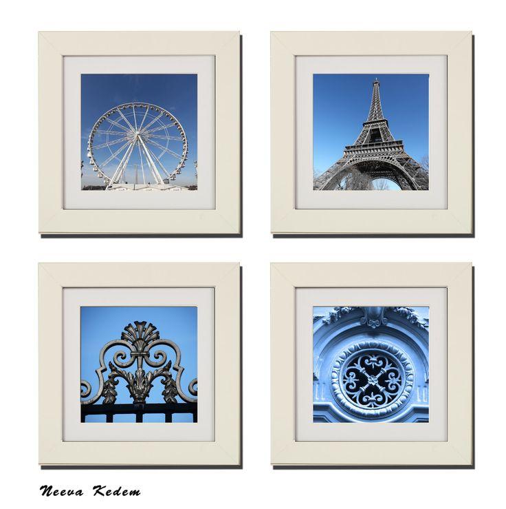 "4 Piece ""Set of Paris in Blue"" Picture Frame Set"