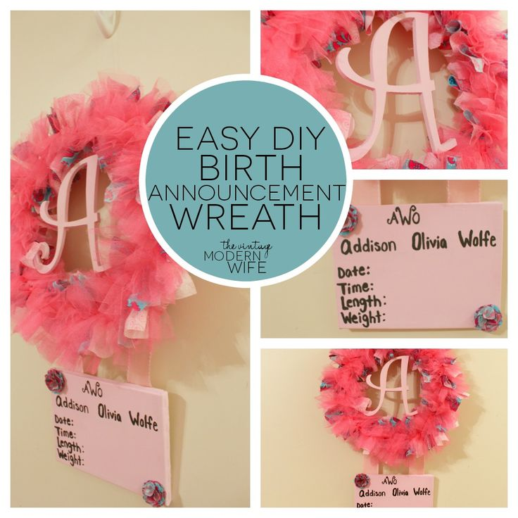 Love this birth announcement wreath by The Vintage Modern Wife. Really easy to make and didn't cost much to make! Totally making this for my pregnant friends!