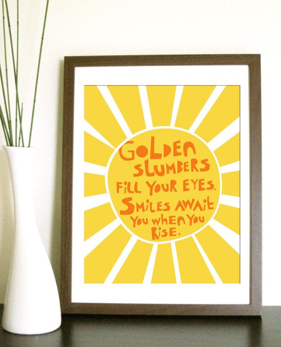 Modern Nursery Art Print- Golden Slumbers - 12x16 Inches, other sizes. $28.00, via Etsy.