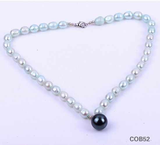 $7.95  Light Green White Ball Pearl Freshwater Jewellery Sterling Silver Clasp Necklace