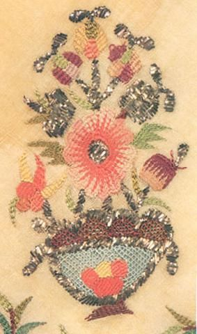 Embroidered 'cevre' (square kerchief; a decorative accessory).  Late-Ottoman, end of 18th century.  The embroidery in silk and metalic strips on linen is 'two-sided' (identical on both sides of the fabric).