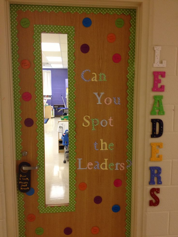 My leader in me door decoration.  I also bought some letters at Hobby Lobby, painted them, and have LEADERS spelled down the side of the door.