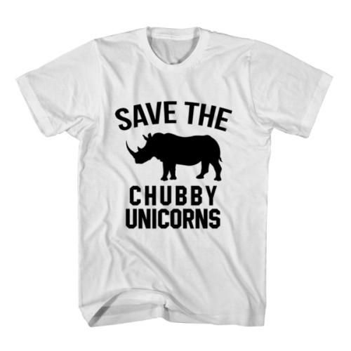 T-Shirt Save The Chubby Unicorns unisex mens womens S, M, L, XL, 2XL color grey and white. Tumblr t-shirt free shipping USA and worldwide.