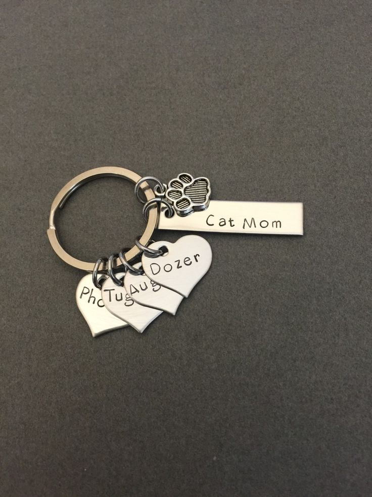 Cat Mom Keychain, Heart Charms, Pet Memorial, Paw Charm