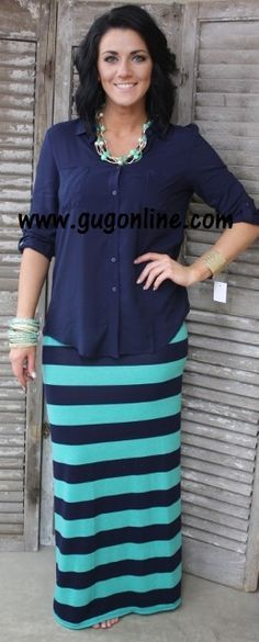 Line By Line Striped Maxi Skirt in Navy and Mint- NOW IN PLUS SIZE www.gugonline.com $19.95-$22.95