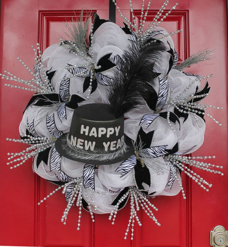 DIY New Year Celebration Mesh Wreath