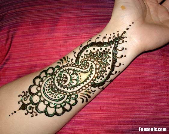 Mehndi Arm Tattoos : Henna tattoo on the arm girl feminine