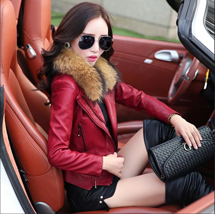 >> Click to Buy << 2017 New Real Fur collar Women Leather Jacket Slim women's Pu leather coat short woman female leather jacket Plus size M-5XL #Affiliate