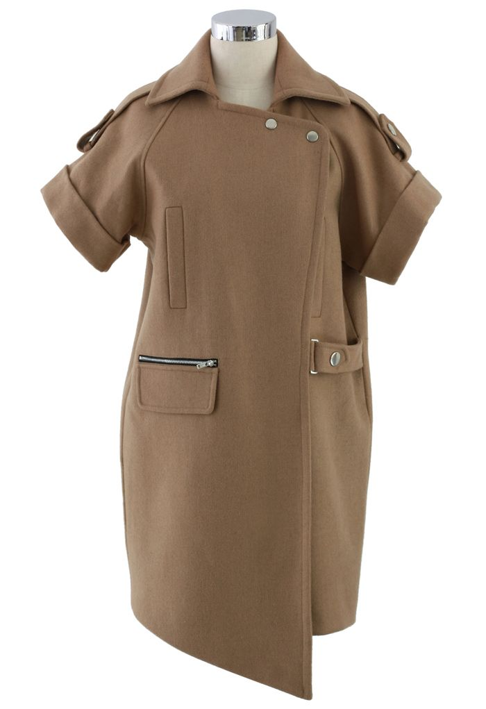 Camel Asymmetric Wool Felt Coat