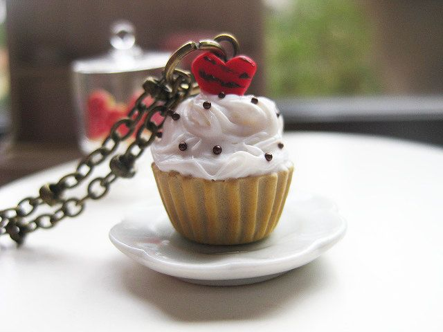 Valentine Cupcake with Red Heart Necklace _ French Patisserie_ Polymer Clay _ Foodie Gift _ Food Jewelry _ Cupcake Collection by MarisAlley on Etsy