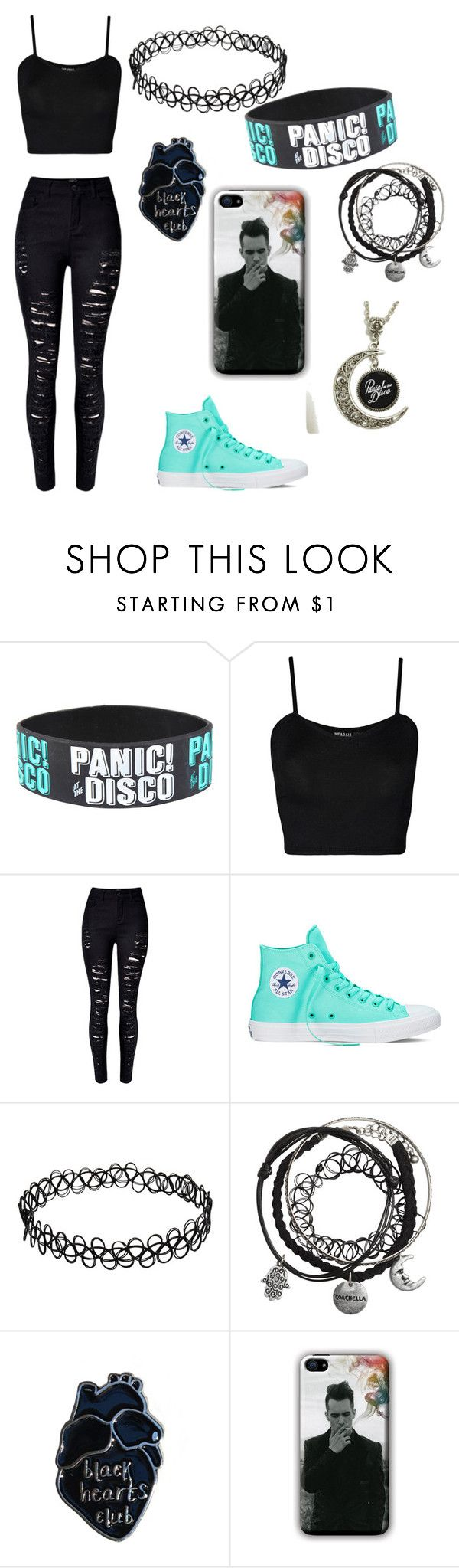 """Panic at the disco outfit"" by emo69 ❤ liked on Polyvore featuring WearAll, WithChic and Converse"