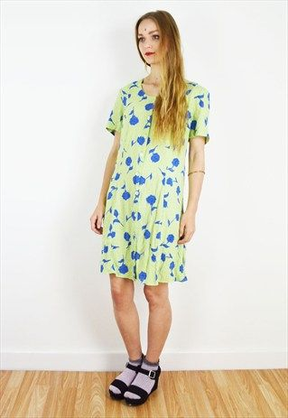 Vintage+Green+Polka+Dot+Floral+Print+Summer+Mini+Dress+