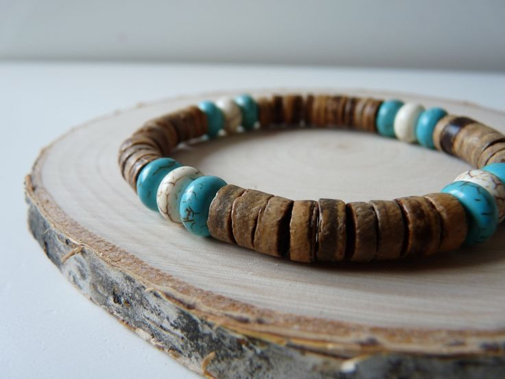Wooden bracelet, Coconut wood and gemstone bracelet, 8 mm unisex bracelet, men's bracelet, Stretched bracelet, Boho jewelry, boho bracelet