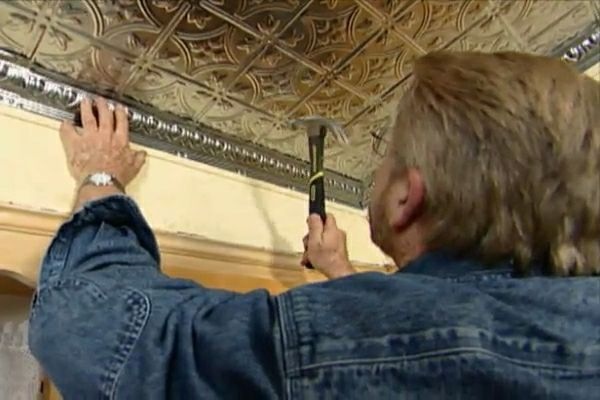 Learn how to install a stamped metal ceiling
