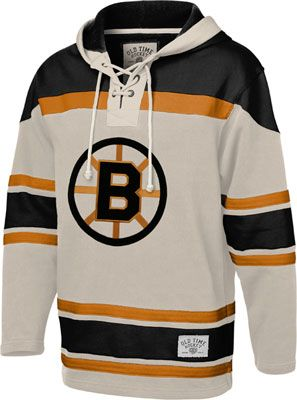 Boston Bruins Stone Old Time Hockey Vintage Lace Up Jersey Hooded Sweatshirt
