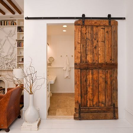instructions make a barn style sliding door or fit sliding door kit - or make sliding door hardware    I love these style doors!