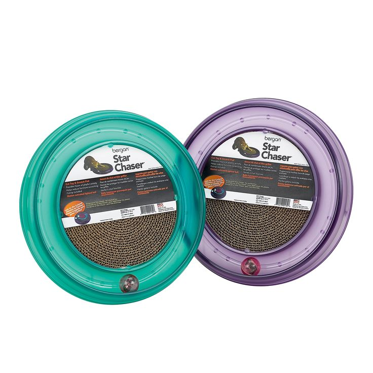 STAR CHASER CAT TOY - lighted LED ball and scratch pad keeps cat busy for hours on end. $17.99