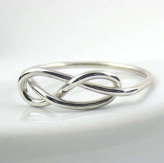 Thick Infinity Love Knot Ring, Sterling Silver Ring, Pinkie Rings, Thumb Ring Sterling Silver Jewellery