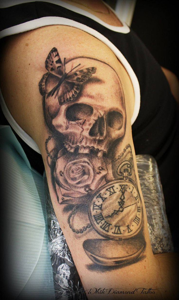 Clock forearm black rose sleeve tattoo - Love My New Tattoo Skull Clock Rose Butterfly Made By Helene Dahlberg At White Diamond Tatto Https M Facebook Com Whitediamondtattoo