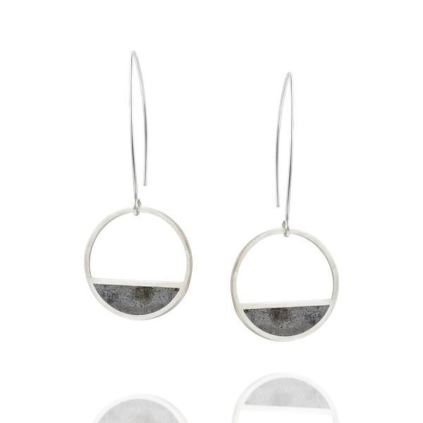 Balance Concrete Earrings in Silver, by BAARA Jewelry.