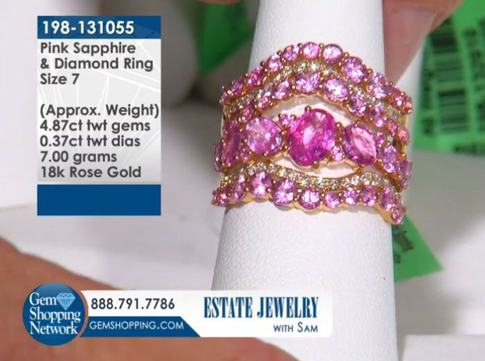4.87 ctw Pink Sapphire & 0.37 ctw Diamond 18K Rose Gold 7.00gr Ring Sz 7 Item #198-131055 Discover Gemstones and stunning jewelry from every era, vintage diamond rings, Art Deco blue sapphire earrings, estate emerald bracelets, ruby necklaces and more! Tune in to Gem Shopping Network to see more stunning Gemstones & Jewelry 24/7.