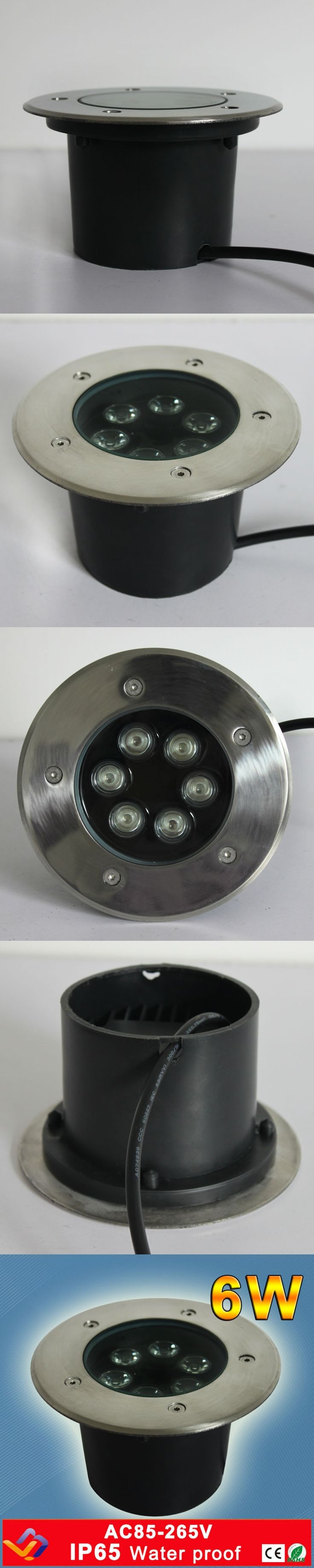6*1W LED round underground lamps Buried lighting LED project lamps LED outdoor lamps  AC85~265V  Waterproof  3Years Warranty