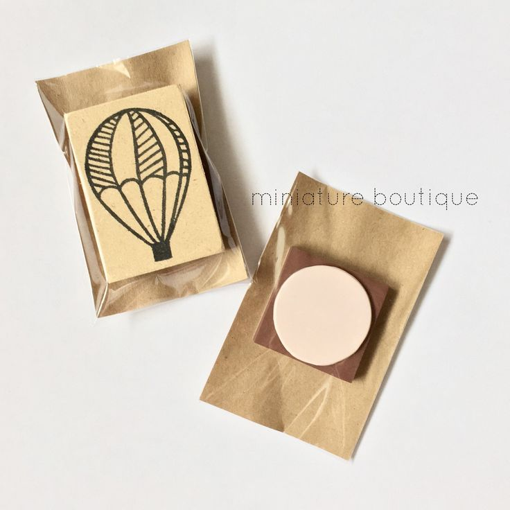 Hand carved stamp - hot air balloon - Packaged and ready to go!
