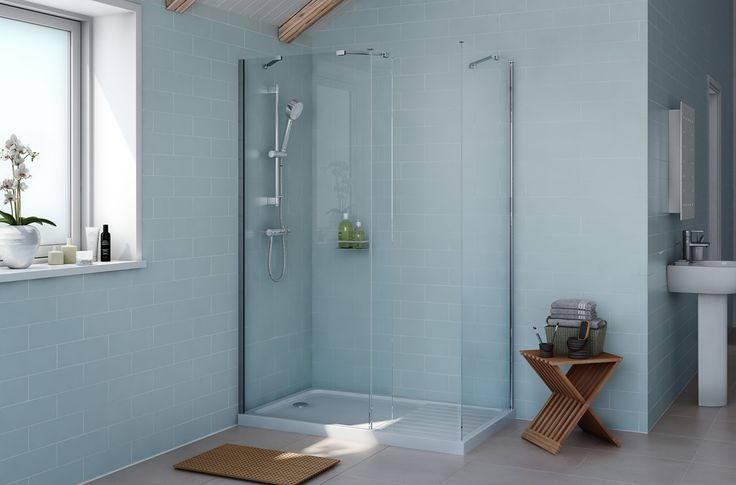 Cooke & Lewis Exuberance Rectangular Shower Enclosure with Silver Effect Frame & Walk-In Entry (W)1300mm (D)800mm | Departments | DIY at B&Q
