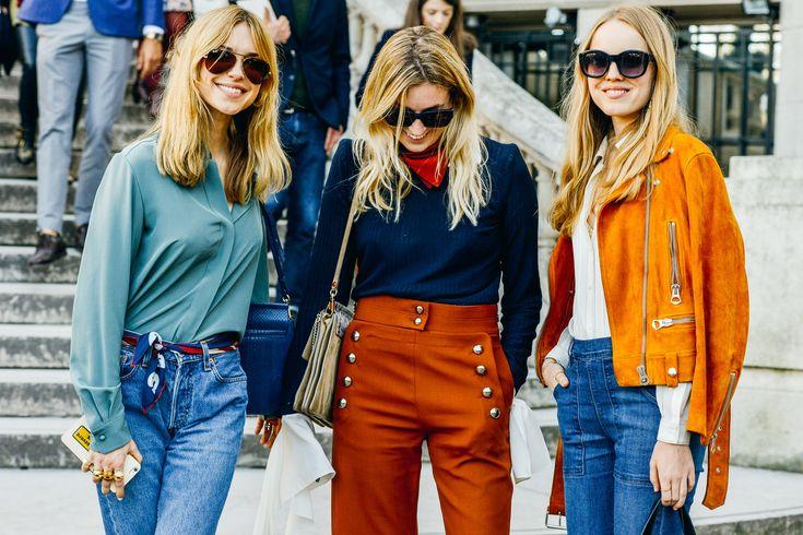 Spring summer 2015 trend - 70's - high waist, denim. Fashion weeks fw 2015 street style.