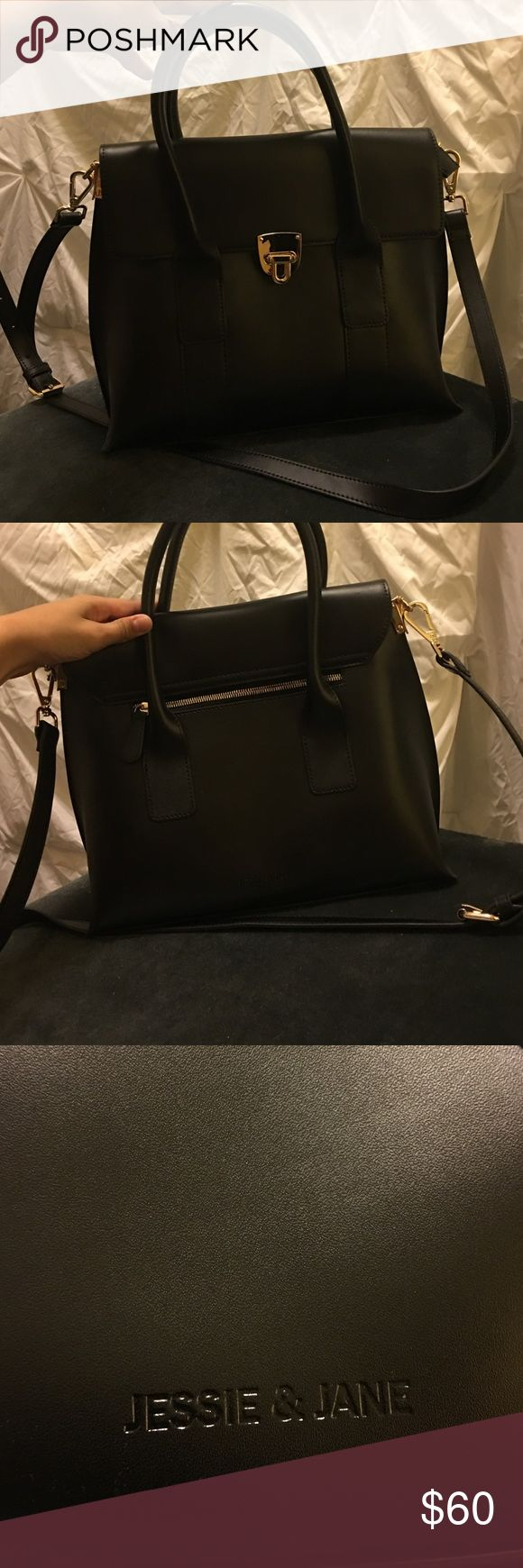 Black leather handbag NWOT, perfect condition. Jessie & Jane brand. Bought from Nordstrom. Jessie & Jane Bags